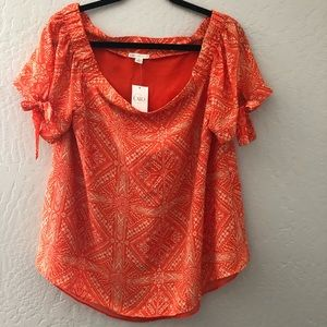 CATO Design Print Orange Blouse